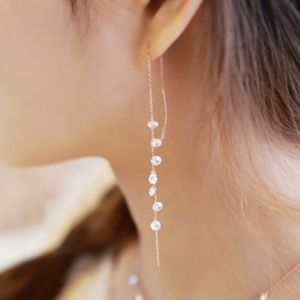 long sparkly chain cz earrings